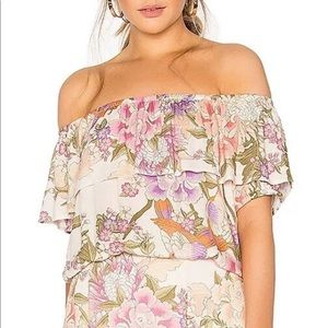 Spell Blue Skies Off Shoulder Top- Cream Floral